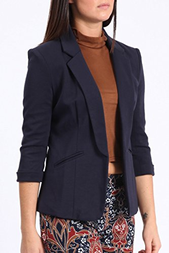 8 Front Jacket Turn 16 Open Blazer New Collar 4 Women Navy Short up 3 Coat Sleeve Ladies Blz Casual Stretchy UK wwUTxnqZv