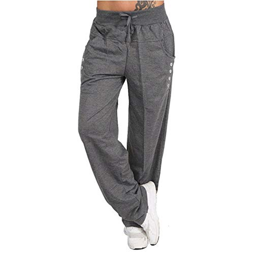 Toimothcn Womens Casual Loose Long Sweatpants Elastic Bandage Waist Wide Leg Sports Pants Jogger Trousers(Gray,S)
