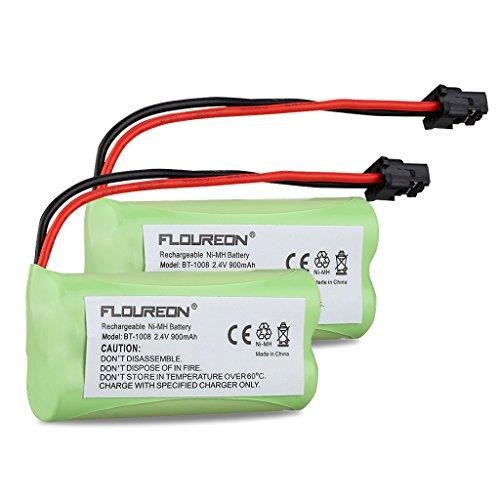Floureon 2 Packs 2.4V 900mAh Rechargeable Cordless Phone Telephone batteries for Uniden BT-1021 BT1021 BT-1008 BT-1016
