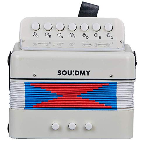 Souidmy Kids Accordion, 10 Keys Button Toy Accordion include 3 Air Valve, Mini Musical Instruments for Early Childhood Teaching, Good Gift for Family (Creamy White)