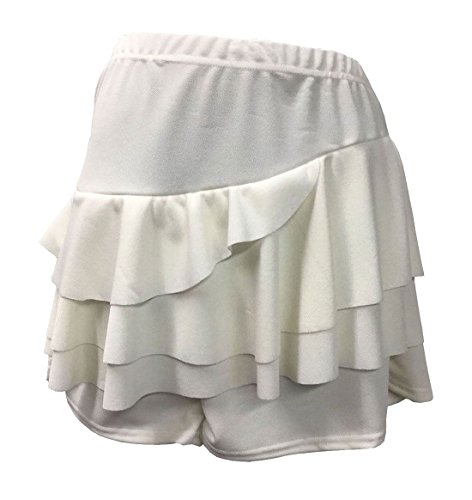 - MA ONLINE Ladies Side Crepe Frill Rara Skirt With Attached Hot Pant Women Fancy Mini Skirt Cream US 4