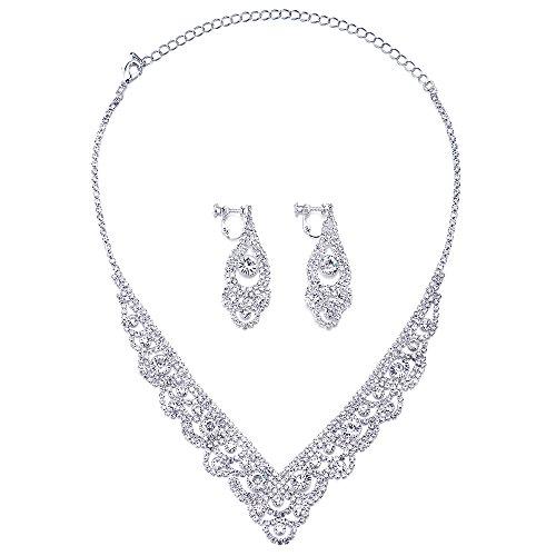 COOLSTEELANDBEYOND Wedding Bridal Rhinestone Cluster Flower Collar Long V-shape Statement Necklace Earrings Brides Set