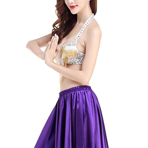 Dance Belly Whitewed Halter Bra Cabaret Silver Beaded Costumes Sequin Fringe Belt with qRtIwxdtr