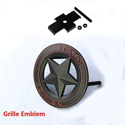 Qukparts 1pc OEM Grille Black Texas Edition Emblem Badge Tacoma Tundra Silverado RAM 1500 2500 Matte Red ()
