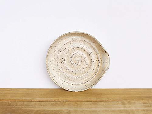 Stoneware Ceramic Spoon Rest in Satin Oatmeal Glaze (Oatmeal Saucer)