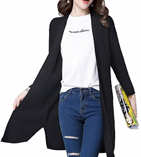 Knit Black Cardigan TTYLLMAO Sweater Fashion Sleeve Outwear Cable Solid Womens Long gfqxFBZ