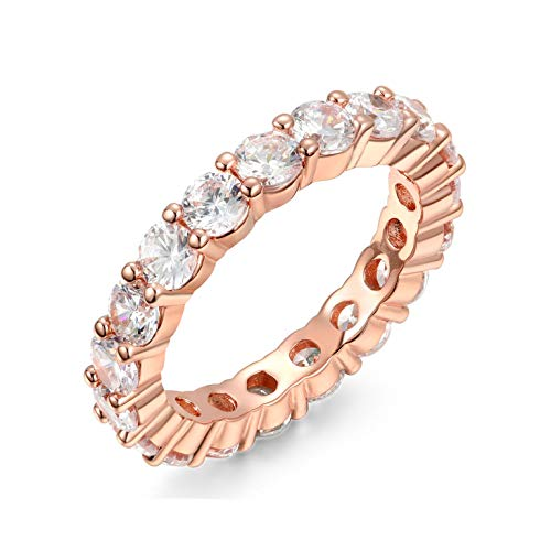 NYC Sterling 4MM Rose Gold Cubic Zirconia Round Luxury Eternity Rings, Box Included (8) ()