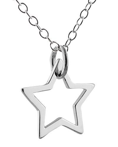FashionJunkie4Life Sterling Silver Small Star Outline Charm Necklace, 18