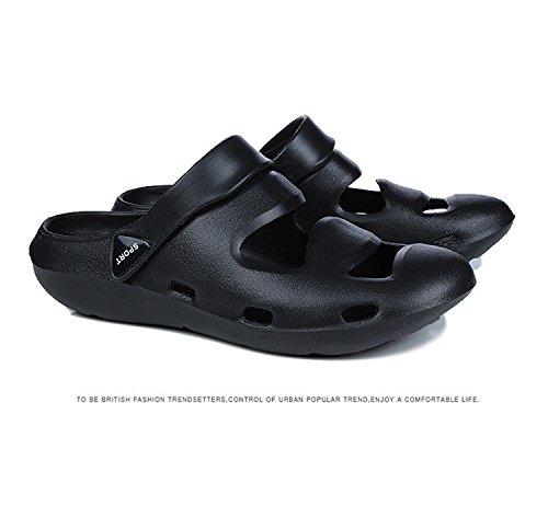 I pattini dell'unità di elaborazione dei sandali di plastica di svago dei nuovi uomini di estate Sandali comodi usura doppia, il nero, UK = 6.5, l'EU = 40