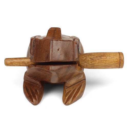 Medium Wooden Croaking Frog Güiro - Fair Trade Percussion Instrument - Fun for all Ages - Free - Stores Mall Fair Vintage