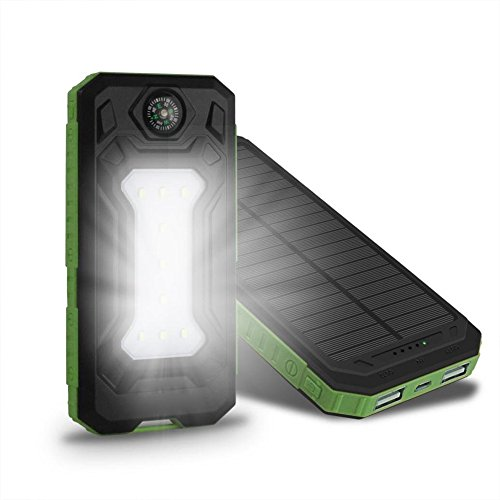 Solar Charger Case, Uranny Solar Charger Case, Waterproof 20000mAh Power Bank 2 USB Solar Charger Case with LED Flashlight for iPhone/ iPhone 6/ 6s/ 7/ 7 plus/ Cell Phone/ Samsung/ Android (Battery Not Include) (Green)