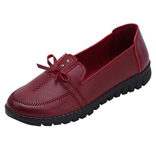 Clog Bow (Leisure Middle-Aged Lady Bow Flat Round-Toe Mother Shoes Soft Bottom Single Shoe Duseedik)