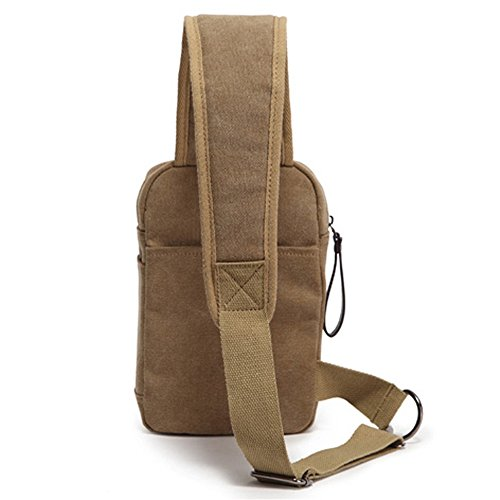 Shoulder Outdoor Zipper Messenger Canvas color Men's Sports Bag Chest Khaki Waterproof Wn7q4ZYOza