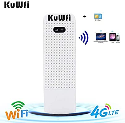 KuWFi Unlocked Pocket 4G LTE USB Modem Router Mobile WiFi Router Network  Hotspot 3G 4G WiFi Modem Router with SIM Card Slot Support LTE
