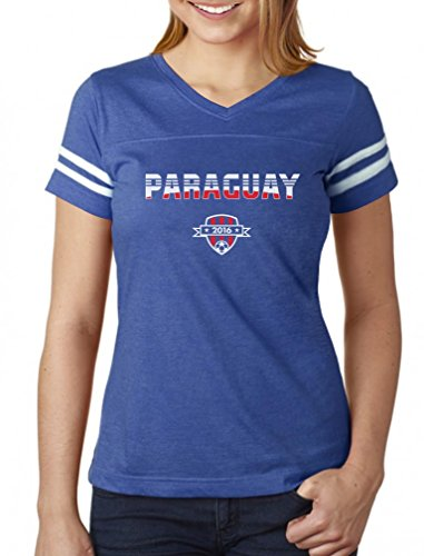Paraguay National Soccer Team 2016 Paraguayan Fans Women Football Jersey T-Shirt X-Large Blue/White ()