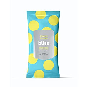 Bliss – Lemon & Sage Refreshing Body Wipes | Plant-Based, Aluminum Free, Natural Deodorant Wipes | All Skin Types | Gym…