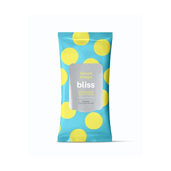 Bliss Lemon and Sage Refreshing Deodorizing Body Wipes to Cleanse Away Dirt, Oil...