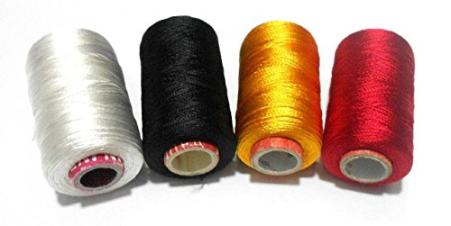 GOELX Shiny Soft Silk Thread For Beading, Tassel Making And Jewellery Making - White,Black,Yellow,Red ()