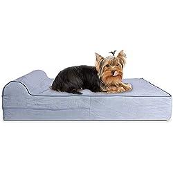 KOPEKS - Orthopedic Memory Foam Dog Bed With Pillow and Waterproof Liner & Anti-Slip Bottom - Small - Grey