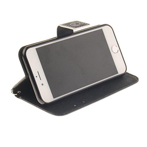 iPhone 7 Coque, Apple iPhone 7 Coque, Lifeturt [ Ne touchez pas mon téléphone ] Motif Pure Couleur Housse en Cuir Case à Avec La Fonction Stand Coque de Intérieure Protection Souple Coque Portefeuille