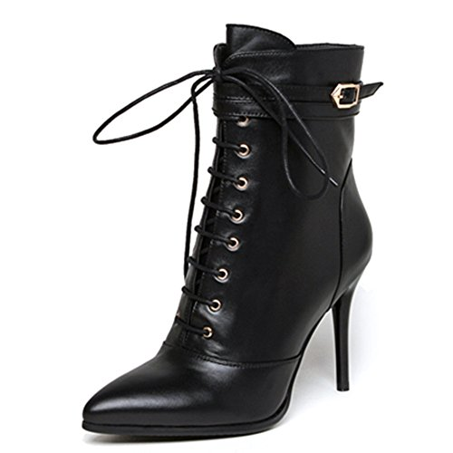 Genuine Leather Women's Pointed Toe Stiletto Heel Lace Up Zip Handmade Ankle Boot With Buckle