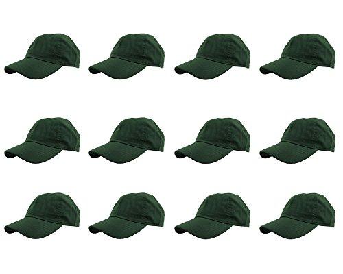- Gelante Baseball Caps 100% Cotton Plain Blank Adjustable Size Wholesale LOT 12 Pack - 1811 DarkGreen