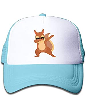 Dabbing Squirrel with Sunglasses On Children's Trucker Hat, Youth Toddler Mesh Hats Baseball Cap