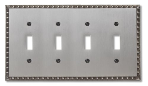 Amerelle Egg & Dart Quadruple Toggle Cast Metal Wallplate in Antique Nickel ()