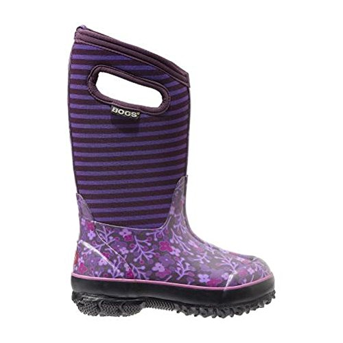 Bogs Classic Flower Stripe Waterproof Insulated Rain Boot (Toddler/Little Kid/Big Kid),  Purple Multi, 12 M US Little Kid