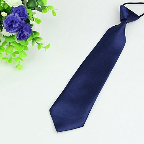 ForHe Boy Tie Kids Baby School Boy Wedding Necktie Neck Tie Elastic Solid Color Stain (Navy ()