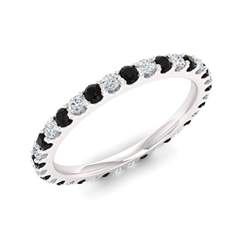 Diamondere Natural and Certified Black and White Diamond Wedding Ring in 14K White Gold | 0.86 Carat Full Eternity Stackable Band for Women, US Size 7