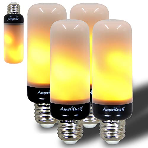 AmeriLuck Slim Design LED Flame Bulb, Black Base, Auto Reverse Gravity Sensor, Realistic Flickering Fire Effect, Christmas Decoration Light, Perfect for Any E26 Lighting Fixtures, 4 Pack
