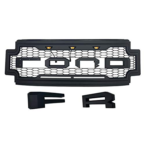 Raptor Style Front Grille For 2017 2018 2019 Ford F250 F350 ABS Black With Amber Lights and Letters ()