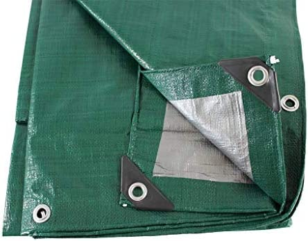 SGT KNOTS Waterproof Tarp 30 x 40 ft 8 mil Thickness - All Weather/Purpose Reversible Green/Silver Poly Tarp - Rust-Proof Grommets - Reinforced Edges - Camping, Tent Fly, Painting, Canopy, Cover