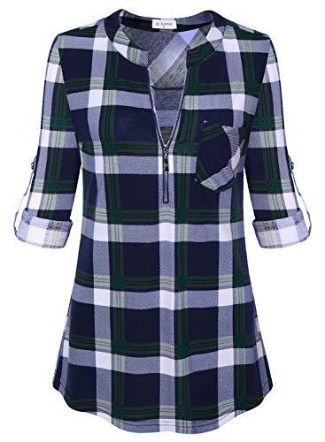 Bulotus Women's 3/4 Sleeve Zip Front Work Casual Tunic Top for Leggings Green -