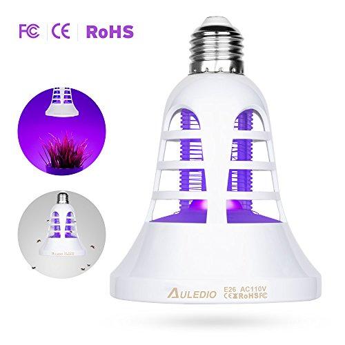 Auledio Bug Zapper LED Grow Light - 2 in 1 Electronic Insect Killer Full  Spectrum Light Bulb, 110V E26/E27 Socket Base for Home greenhouse(white)