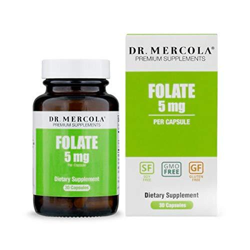 Dr. Mercola, Folate, 30 Servings (30 Capsules), Non-GMO, Soy-Free, Gluten Free