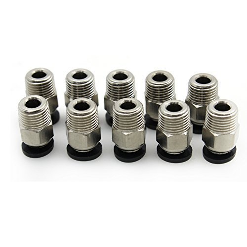 YOTINO PC4-M10 Male Straight Pneumatic PTFE Tube Push in Quick Fitting Connector for E3D-V6 Long-Distance Bowden Extruder 3D Printer Pack of 10pcs