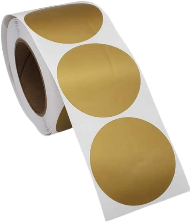 """3"""" QSRProducts Permanent Color-Code Dot Stickers: 500 Labels (Metallic Gold)"""