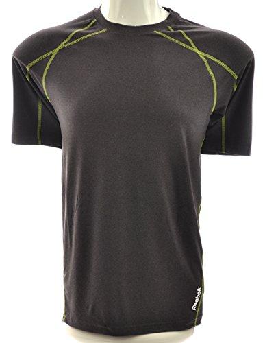 Reebok Men's PlayDry Crew Neck Short Sleeve T-Shirt, Dark Gray/Lime (XXX-Large)