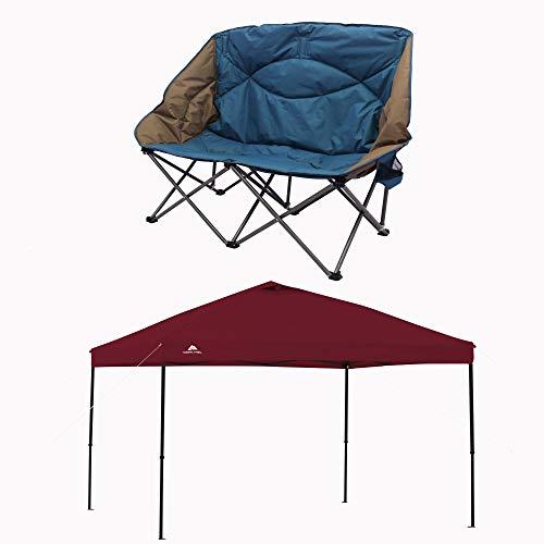 Ozark Trail Camp Sofa Bundle 10' x 10' Straight Leg Instant Tailgate Maroon Canopy