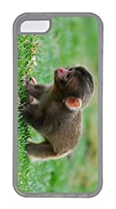 iPhone 5C Case, Customized Protective Soft TPU Clear Case for iphone 5C - Baby Monkey Cover