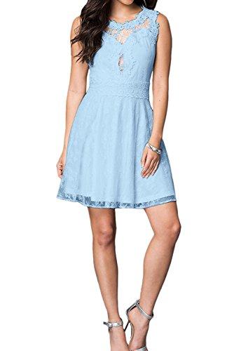 Cocktailkleider Spitze Abendkleid Kurz A Damen Beliebt Linie Brautjunfernkleid Ivydressing Hellblau wx8TnX