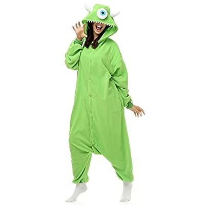 Adult Mike Wazowski Onesie Fleece Cartoon Sleepwear Cosplay Costume Unisex