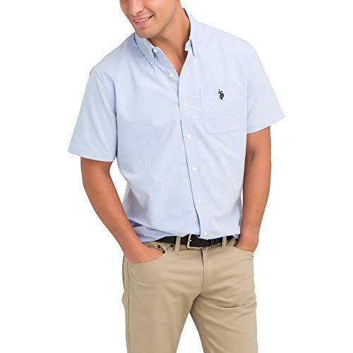 U.S. Polo Assn. Men's Solid Stretch Oxford Short Sleeve Shirt Light Blue, Large ()