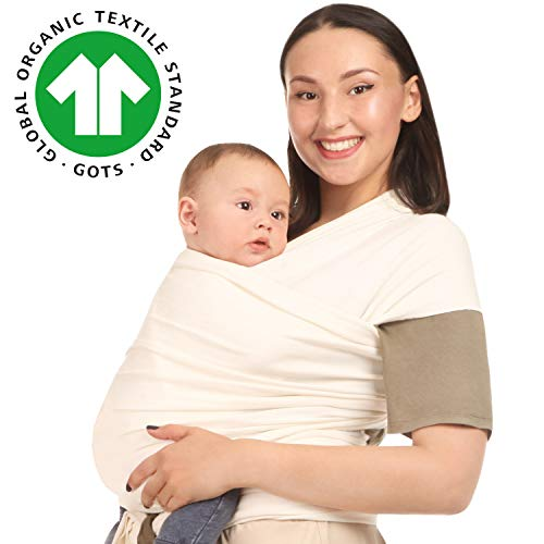 Baby Wrap Carrier Holder - Ivory - Toddler, Newborn, Infant, Child - Front, Hip and Kangaroo Holds - Ergonomic Baby Wearing for Men and Women - Organic Cotton...