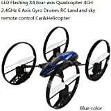 SYR-LED Flashing four-axis 4CH 2.4GHz 6-Axis Gyro RC Quadcopter 4-in-1 Flying Car Remote Control Drone 360 degree roll Helicopter- Blue