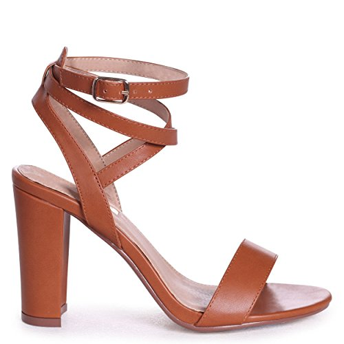 Danni - Tan Nappa Block Heeled Sandal with Cross Over Ankle Strap Cognac