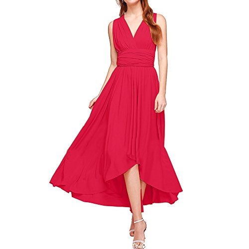 Price comparison product image Kalin L Women Cut Out V Neck Backless Bandage Wrap Maxi Party Cocktail Dresses Red X-Large