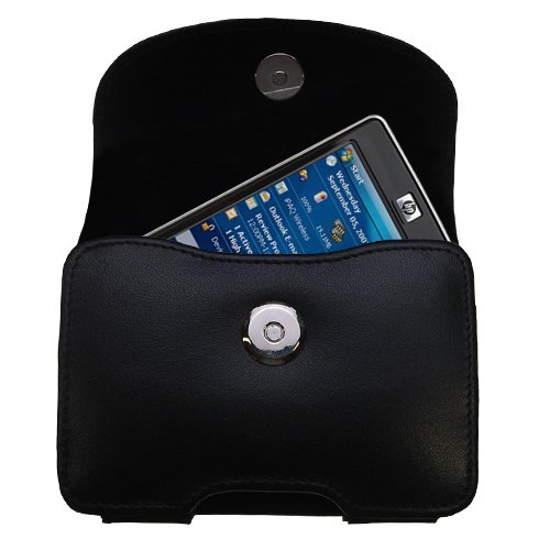 Designer Gomadic Black Leather HP iPaq 210 Belt Carrying Case - Includes Optional Belt Loop and Removable Clip